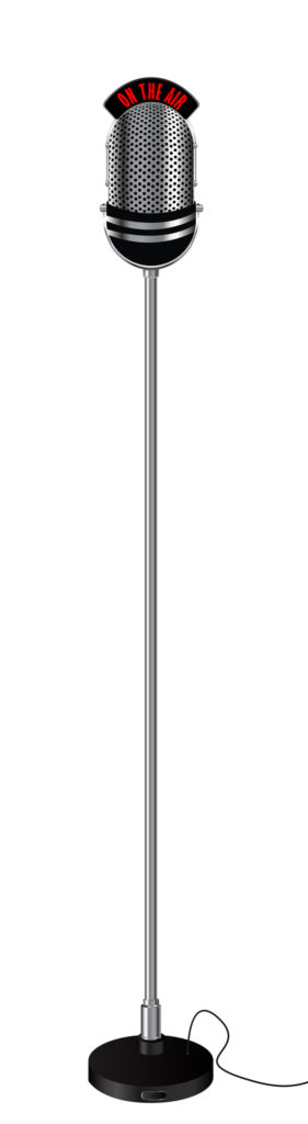 Old retro style radio microphone on a stand. Isolated object over white background