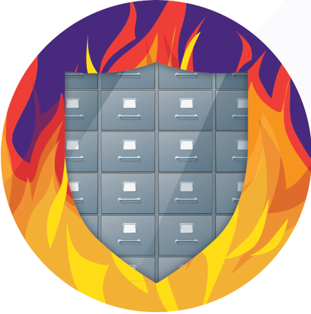 Filing Cabinet and fire logo