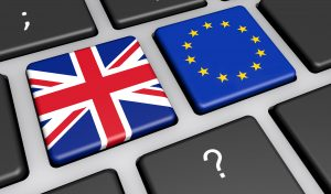 UK And EU Flag On Computer Keyboard